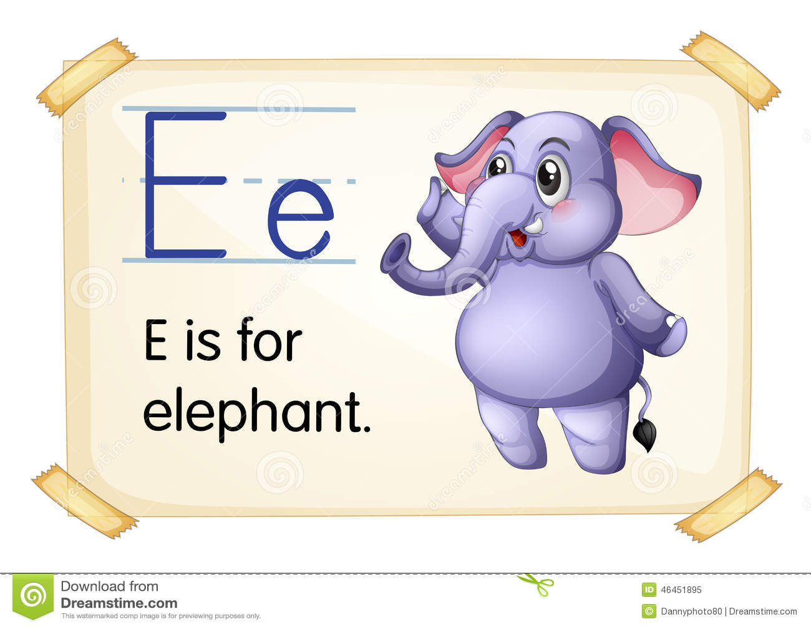 Elephant Flashcard Stock Vector Illustration Of Spelling