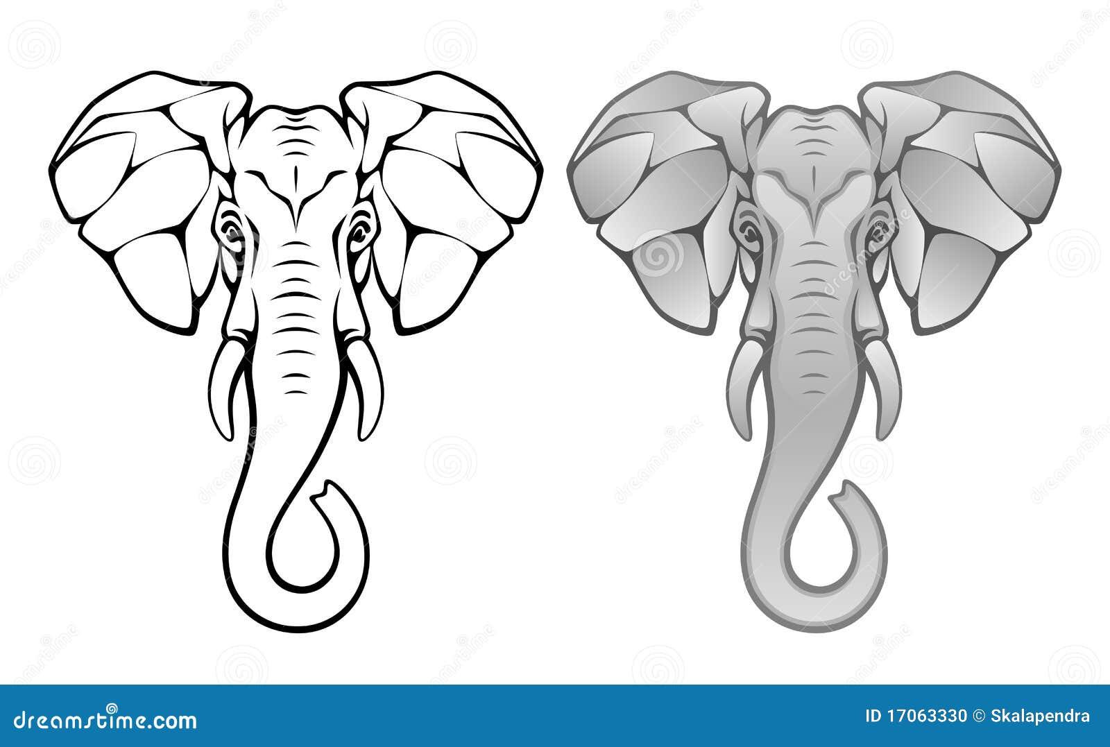Elephant head on a white background Elephant Head Stencil