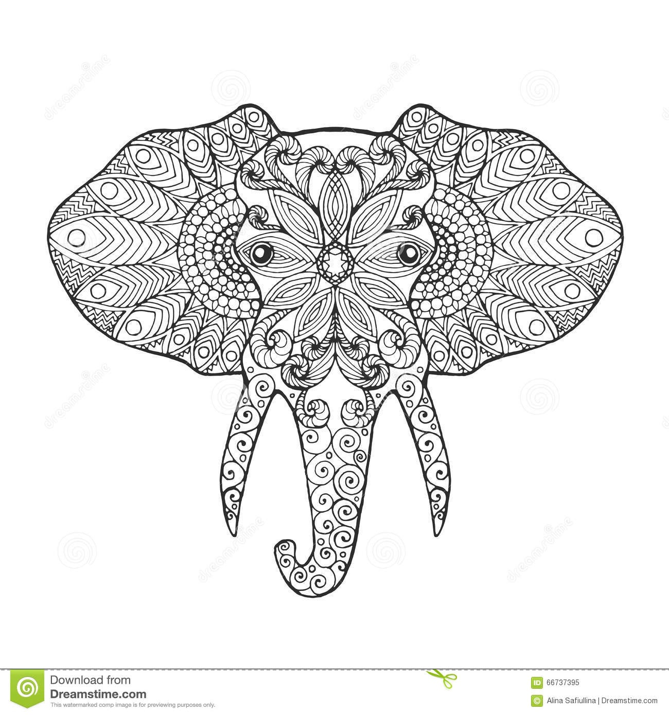 Elephant head stock vector. Illustration of coloring - 66737395