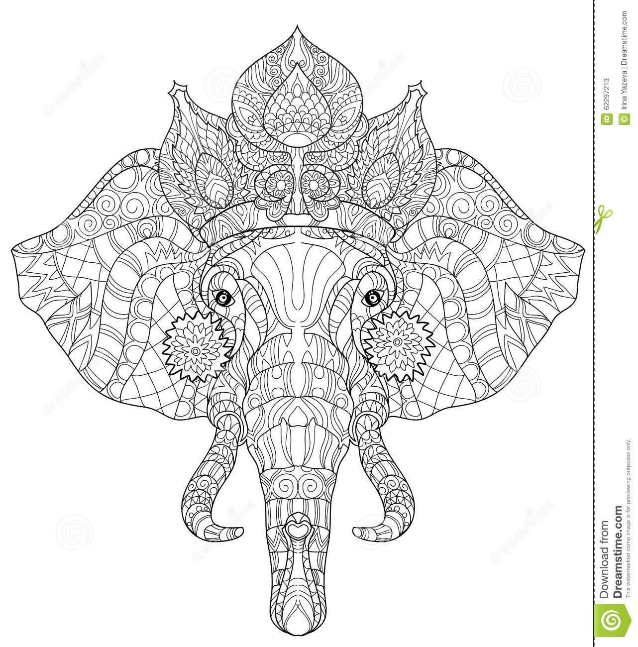 Elephant Head Doodle On White Vector Sketch Stock Vector