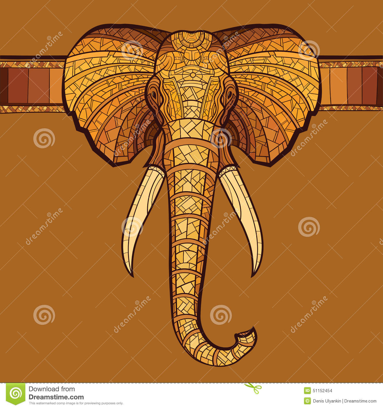 Elephant Head With Ethnic Ornament Stock Illustration Illustration