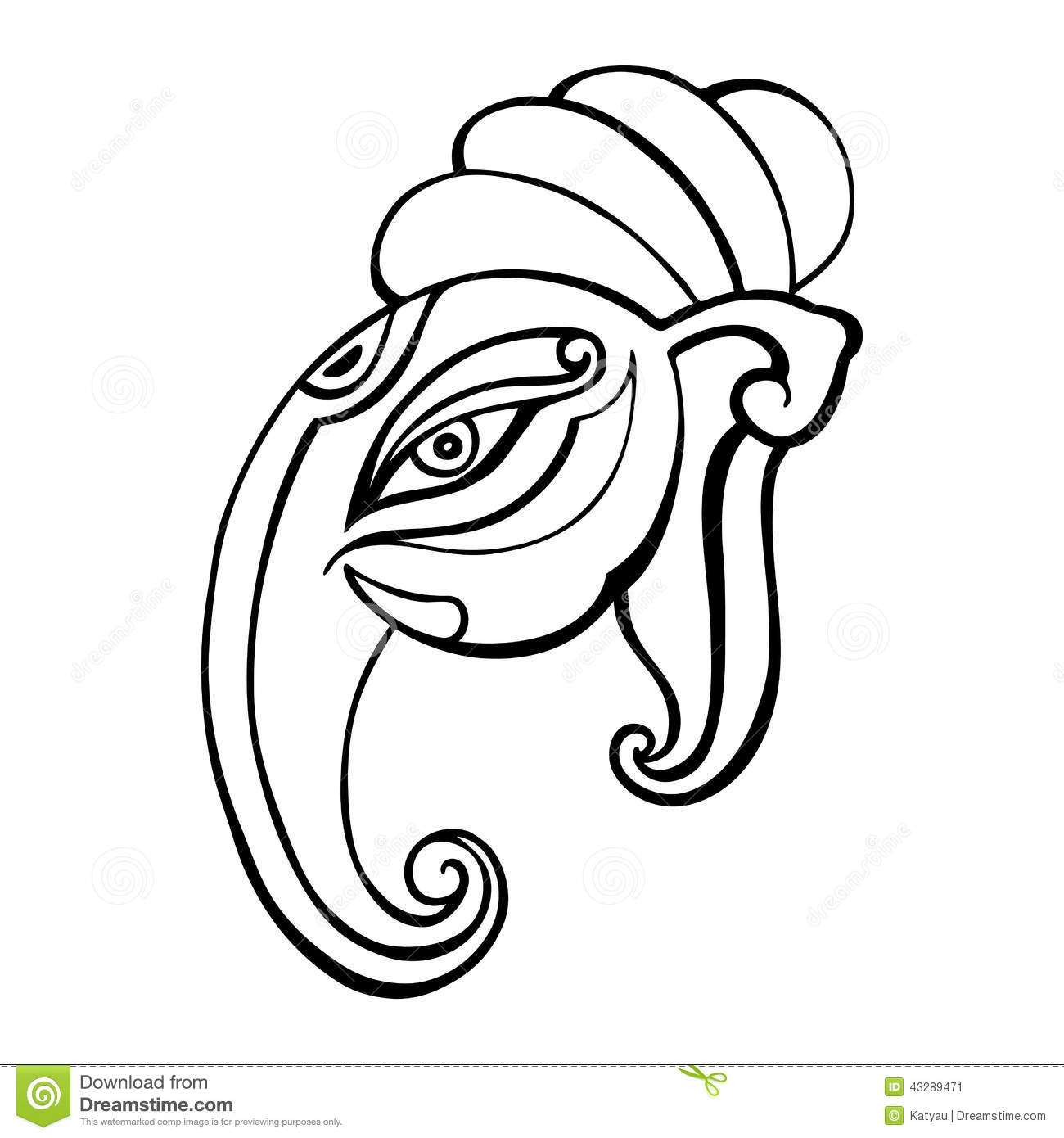 Line Drawing Elephant Face : Elephant head ganesha hand drawn illustration stock