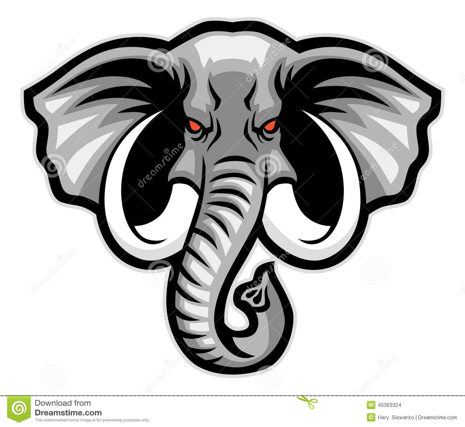 Elephant head mascot stock vector image of elephant for Immagini vector