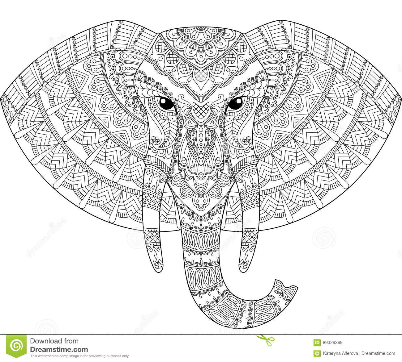 Elephant Head In Zentangle Style Adult Antistress Coloring Page