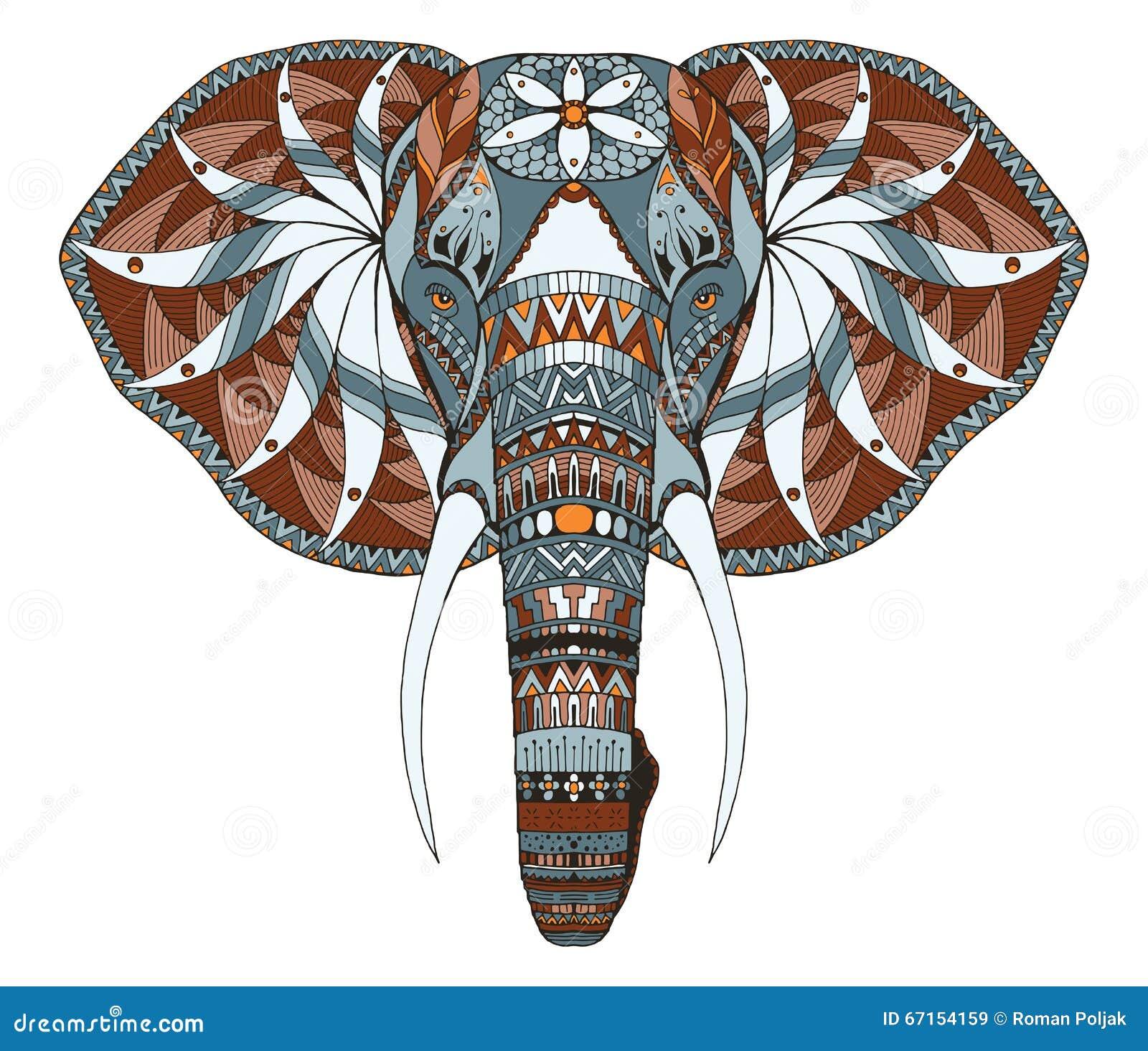 Elephant Head Zentangle Stylized Vector Illustration