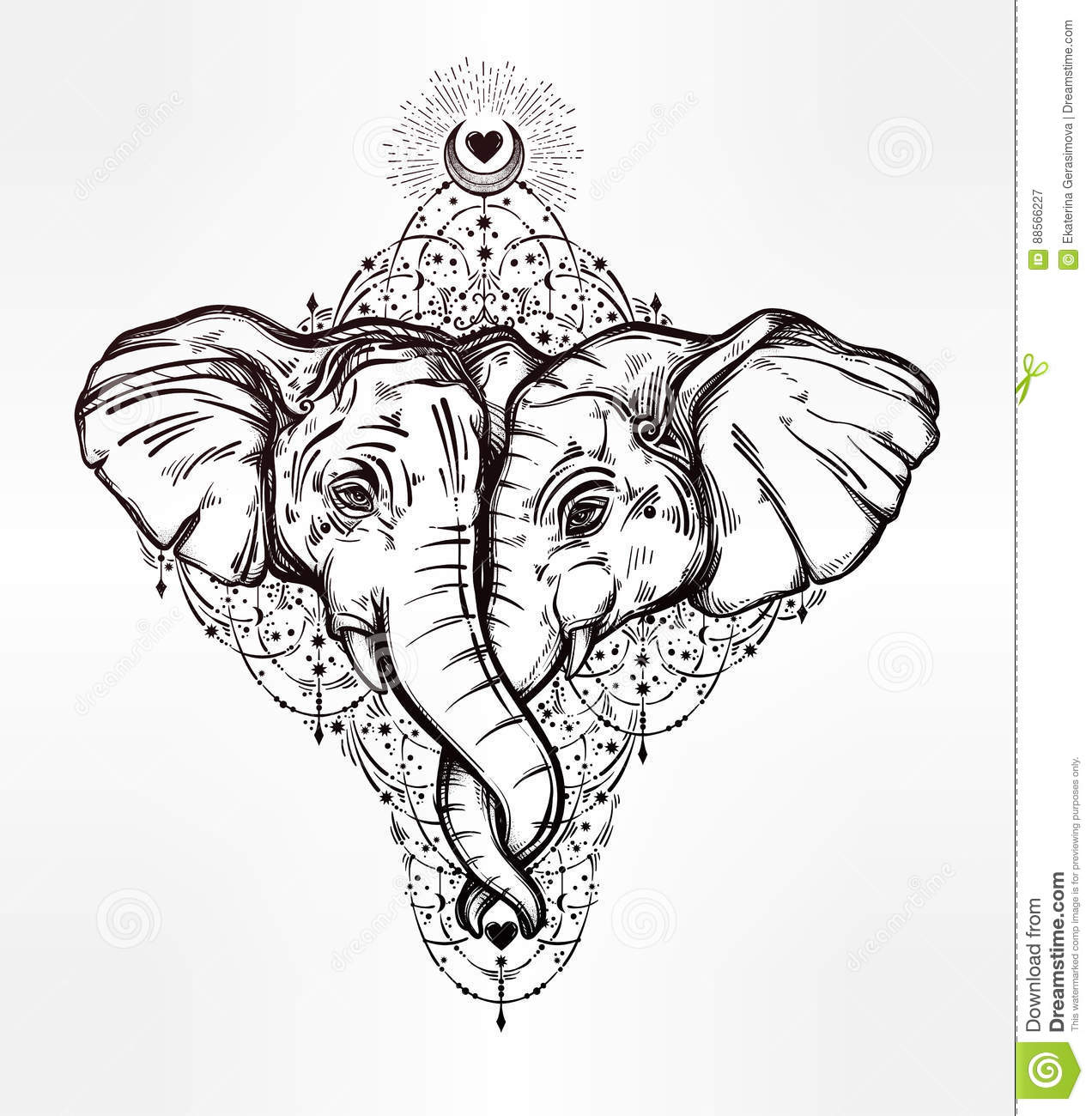 Elephant Huggung Or Kissing Another With Trunk. Stock ...