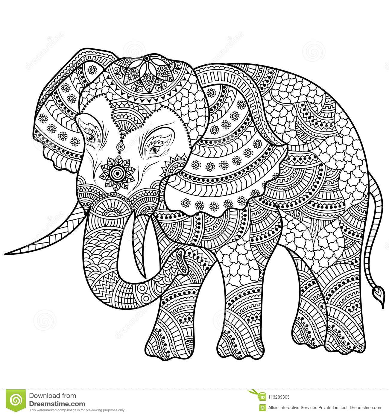 Elephant Illustration, Coloring Doodle. Colouring Book. Stock ...