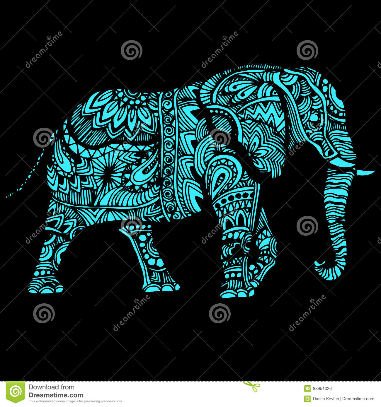 Elephant Illustration for design pattern textiles. Used for children clothes, pajamas