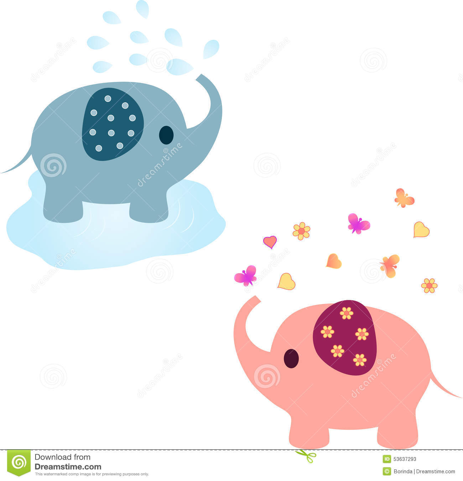 Elephant Illustrations, Pink Elephant, Blue Elephant Stock