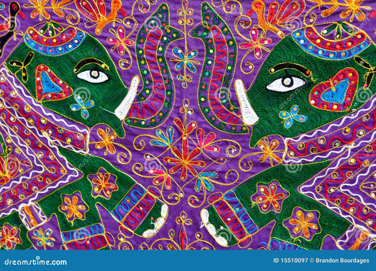Elephant On Indian Fabric Stock Image Image Of Colorful