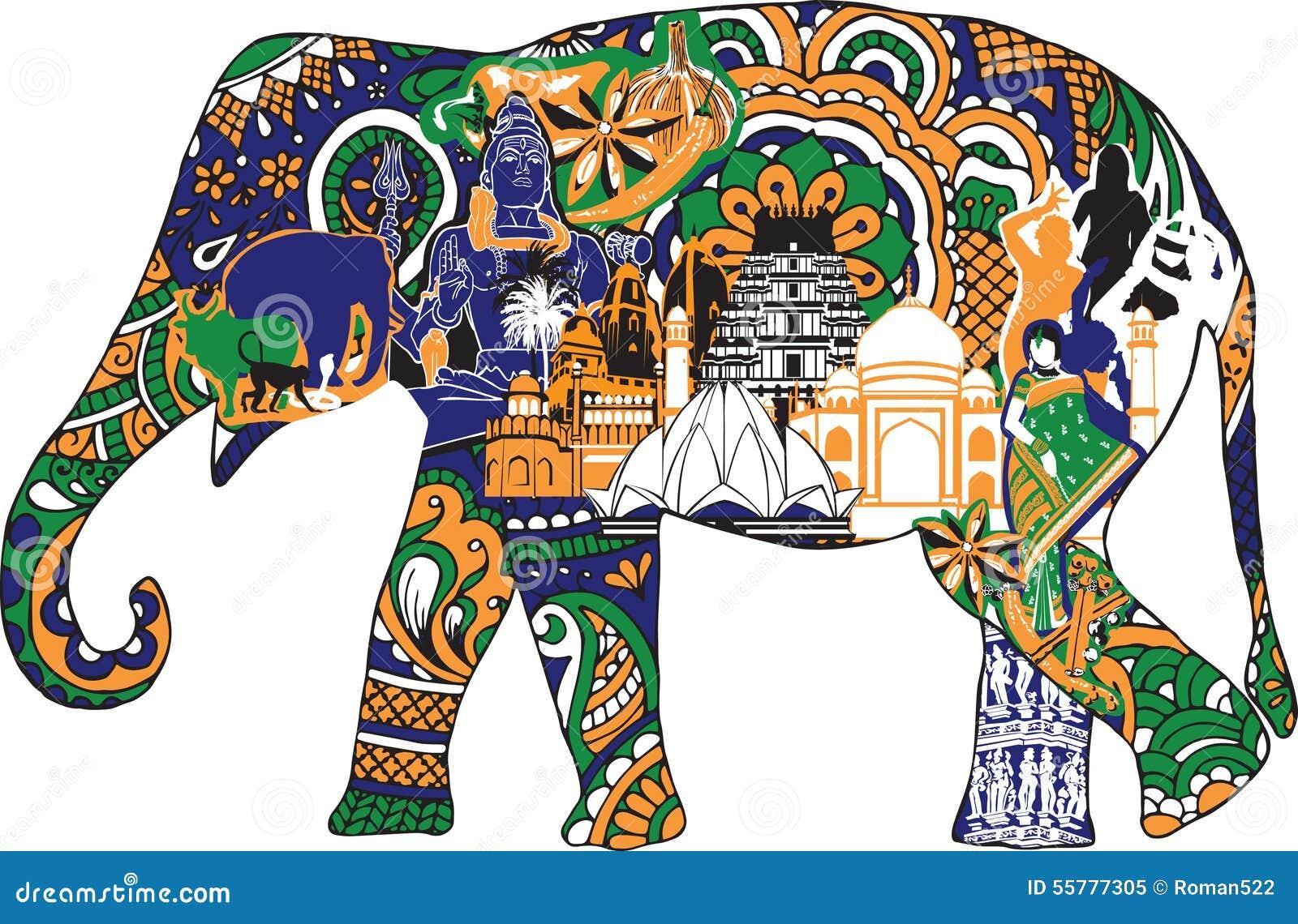 elephant with indian symbols stock vector illustration of shiva asia 55777305. Black Bedroom Furniture Sets. Home Design Ideas
