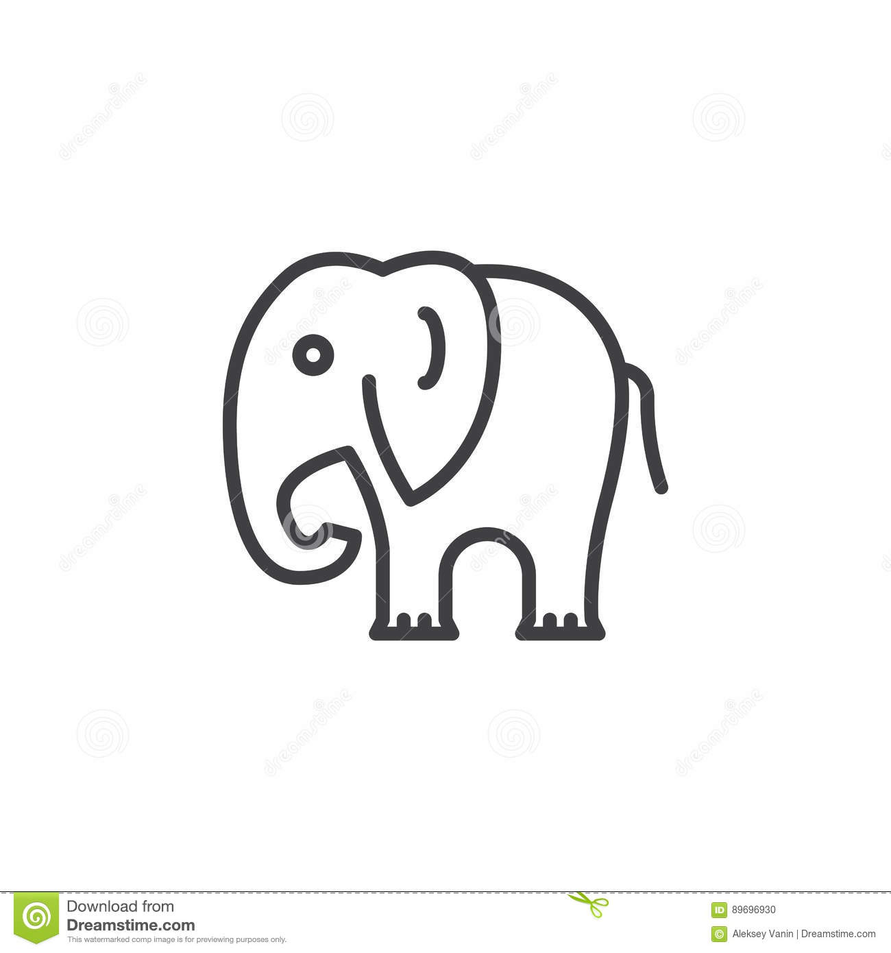 Elephant Line Icon, Outline Vector Sign Stock Vector ...