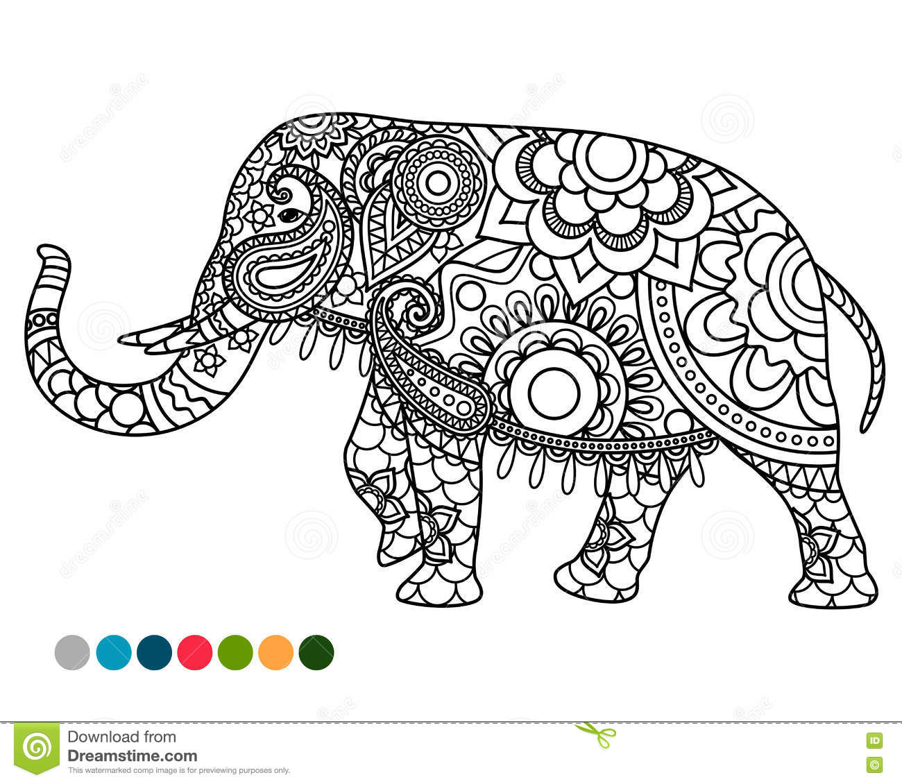 Elephant mandala ornament with colors samples stock vector for Elephant mandala coloring pages