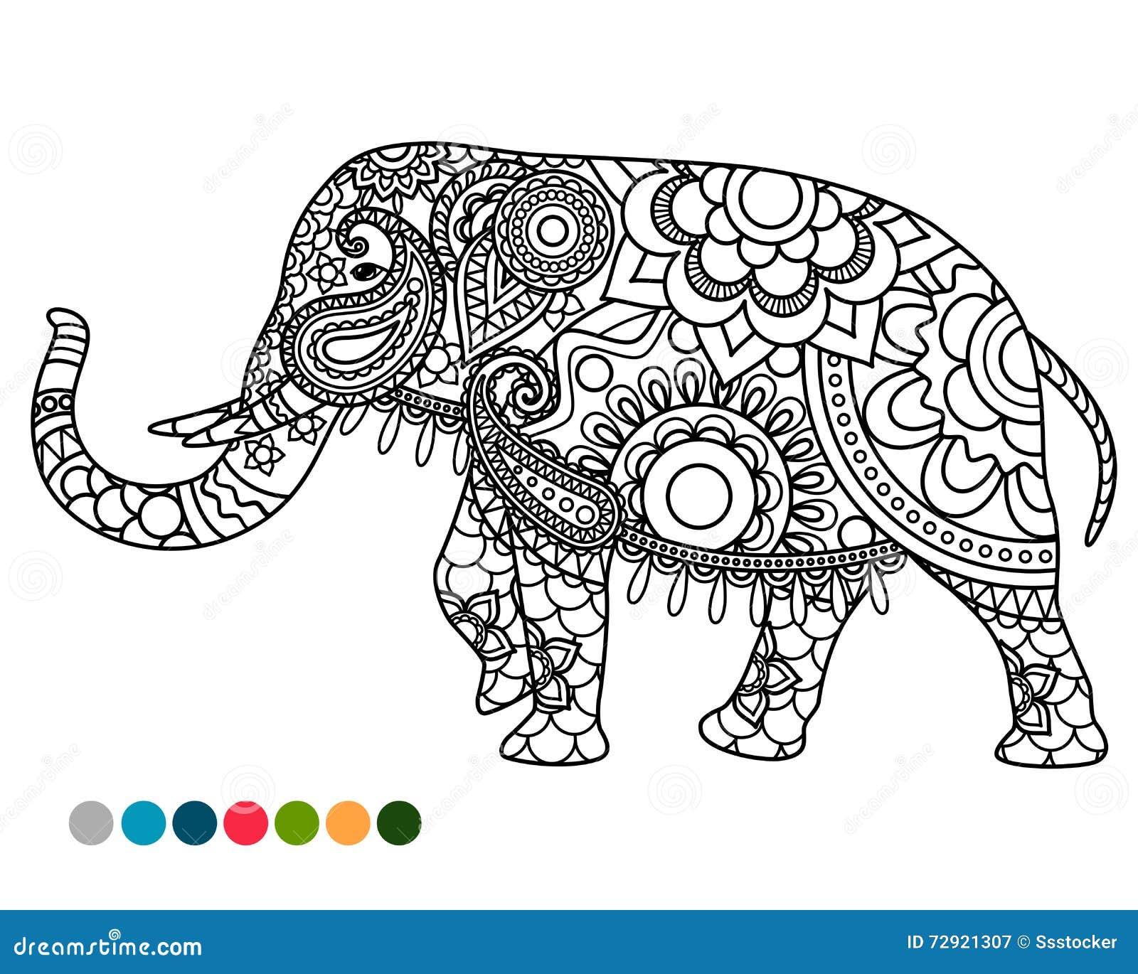 Elephant Mandala Ornament With Colors Samples Stock Vector ...