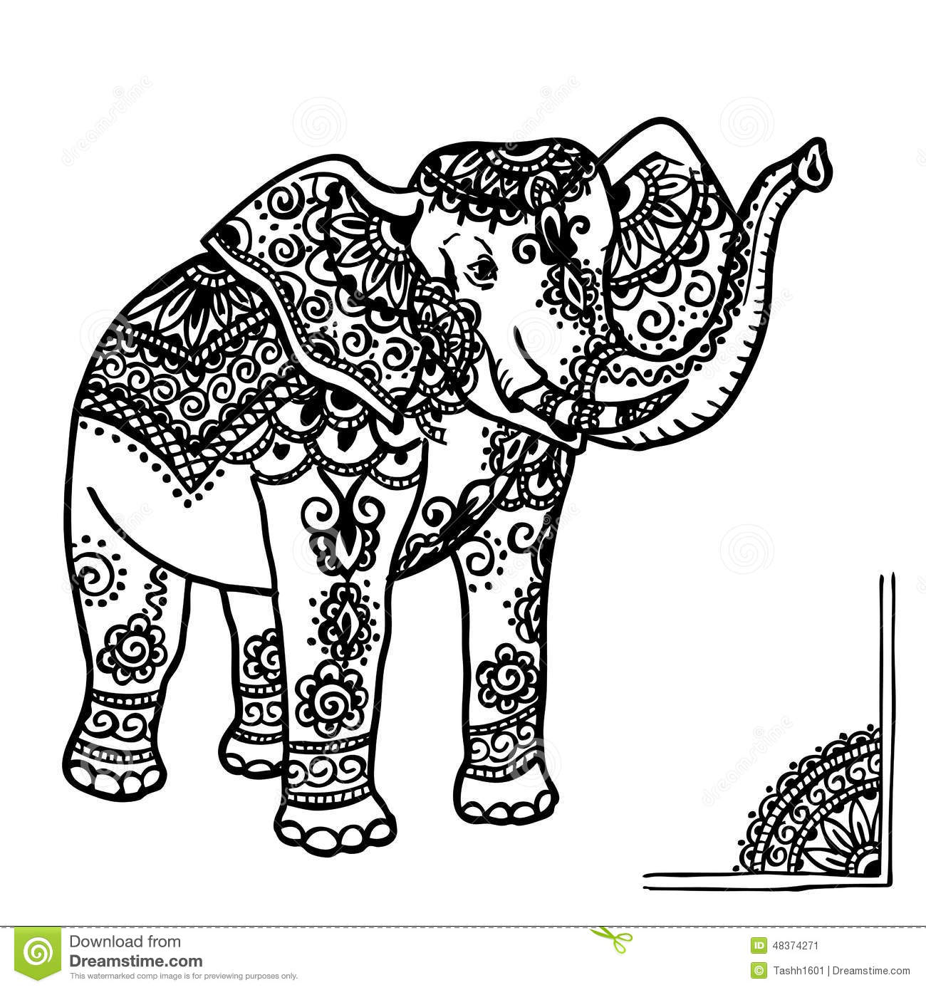 Elephant And Mehendi Ornament Stock Illustration - Image