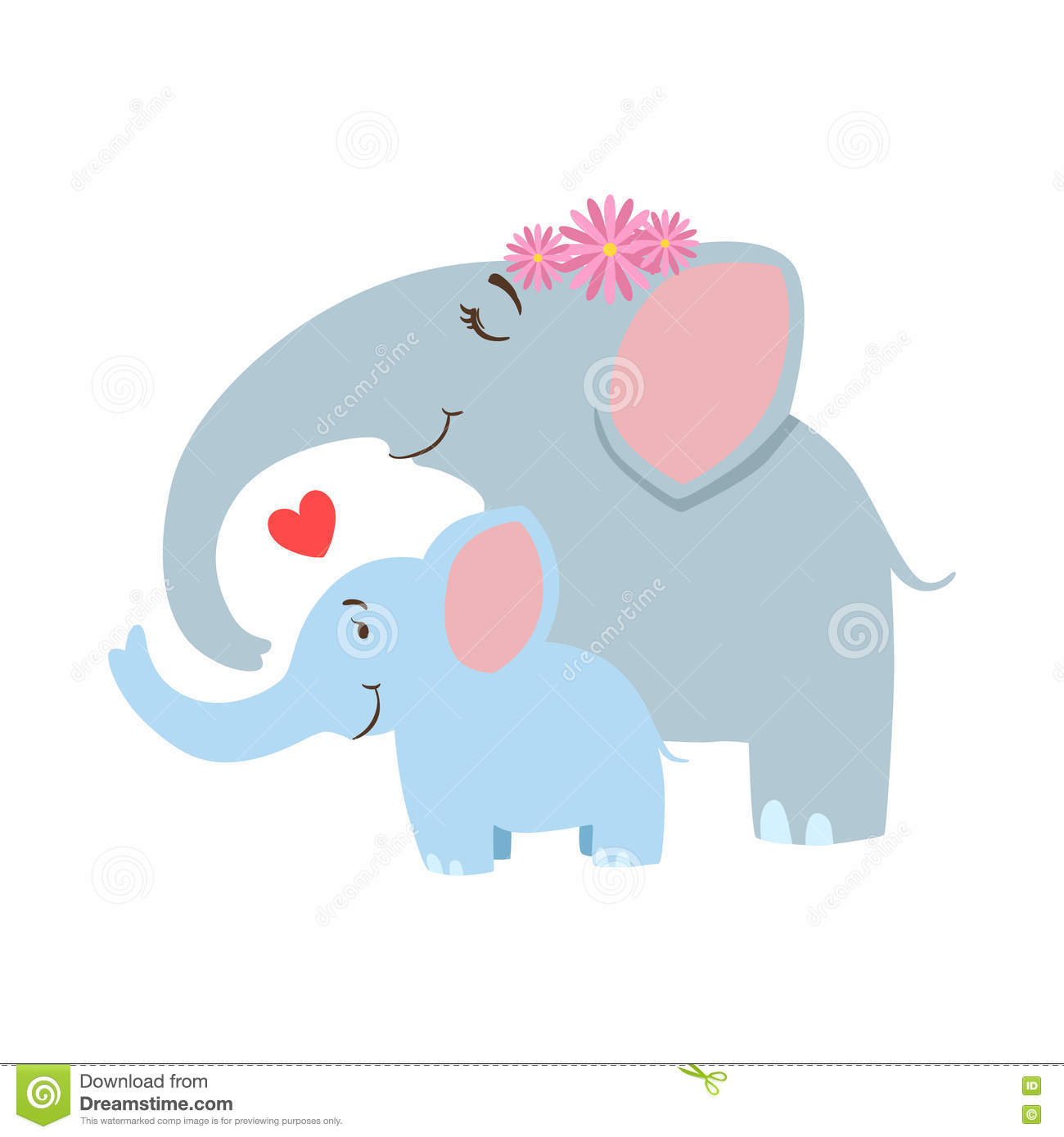 Elephant Mom With Frower Wreath Animal Parent And Its Baby ...