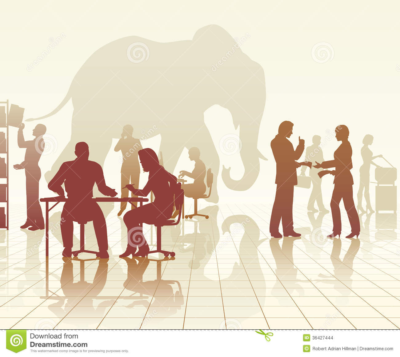 Elephant in the office stock vector. Illustration of ...