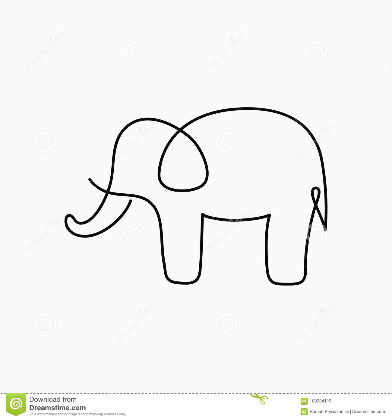 Drawing Lines Using Xbox One : Elephant one line drawing continuous animal hand
