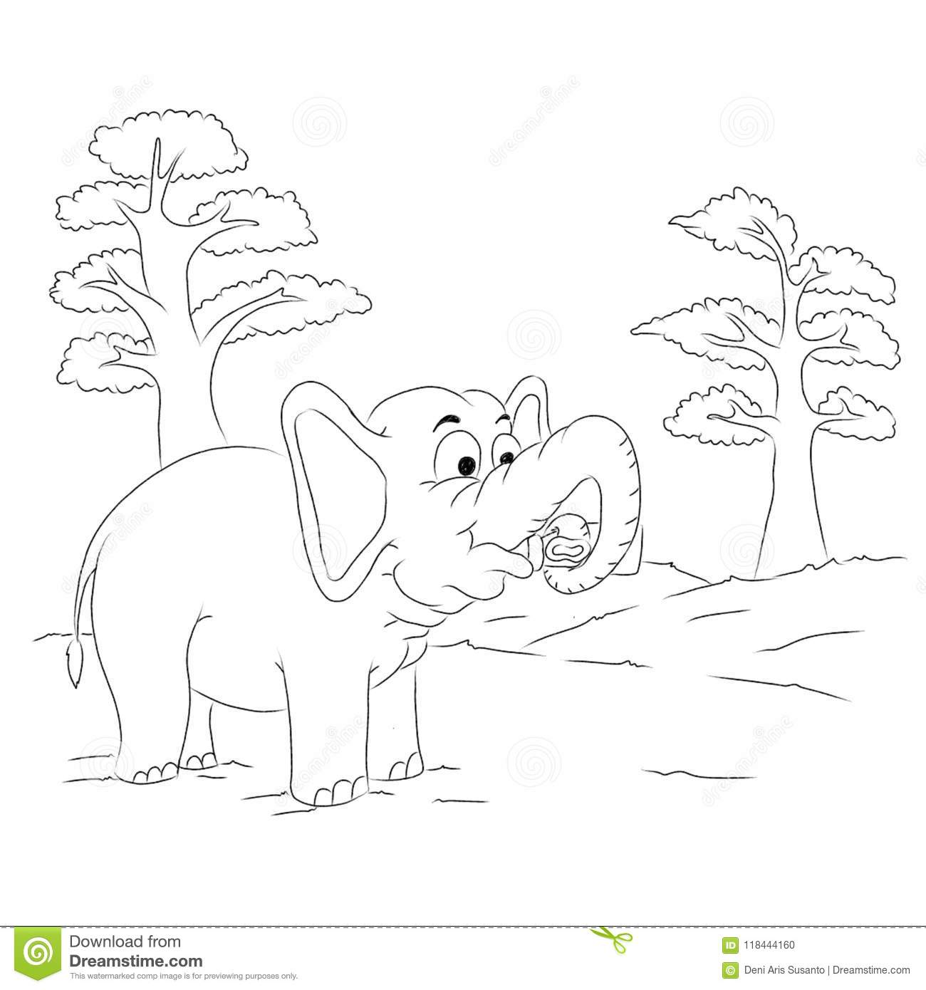 Elephant Outline Cartoon Colouring Page Stock Illustration ...