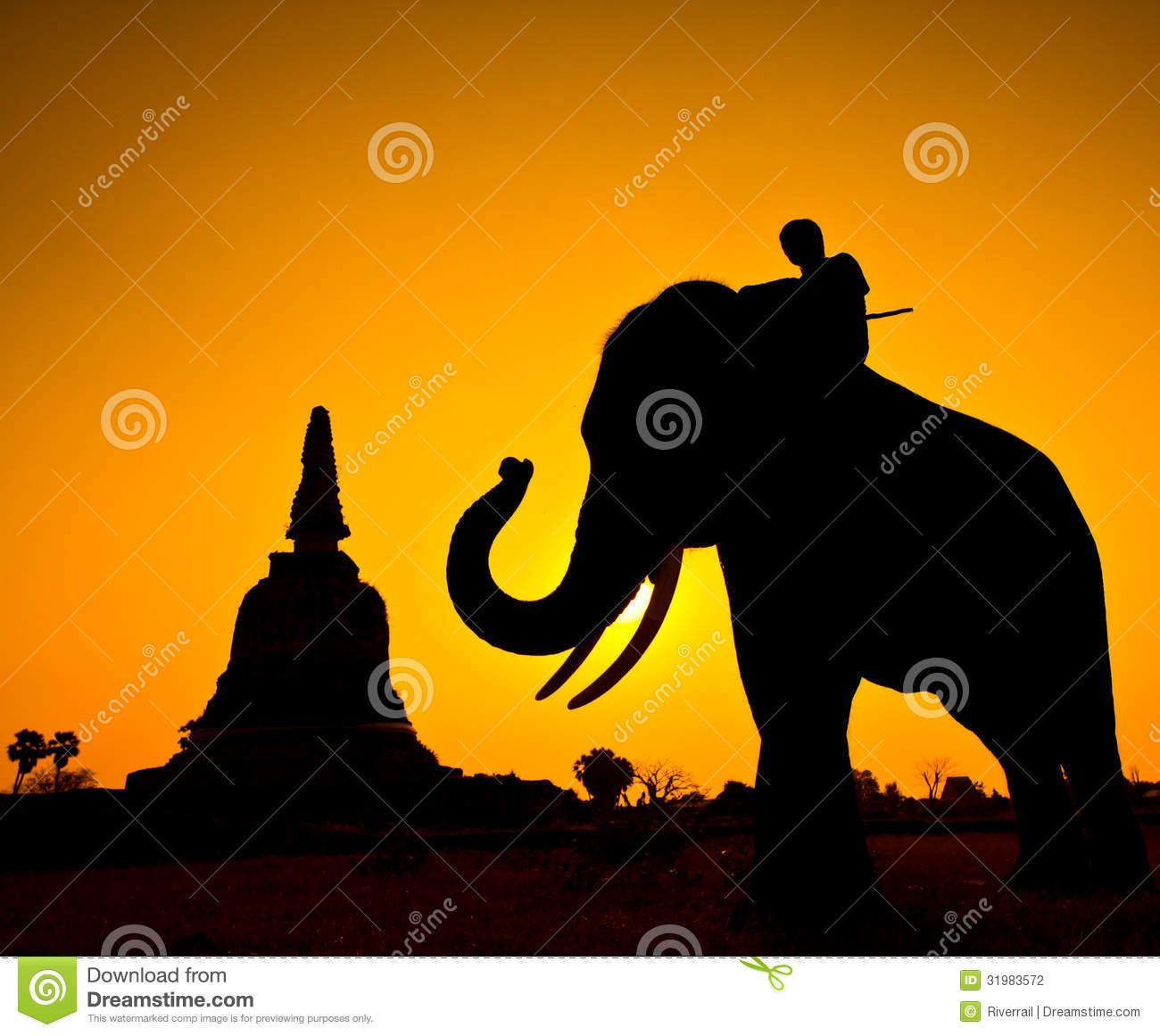 Stock photography: elephant and pagoda wiith sunset scene
