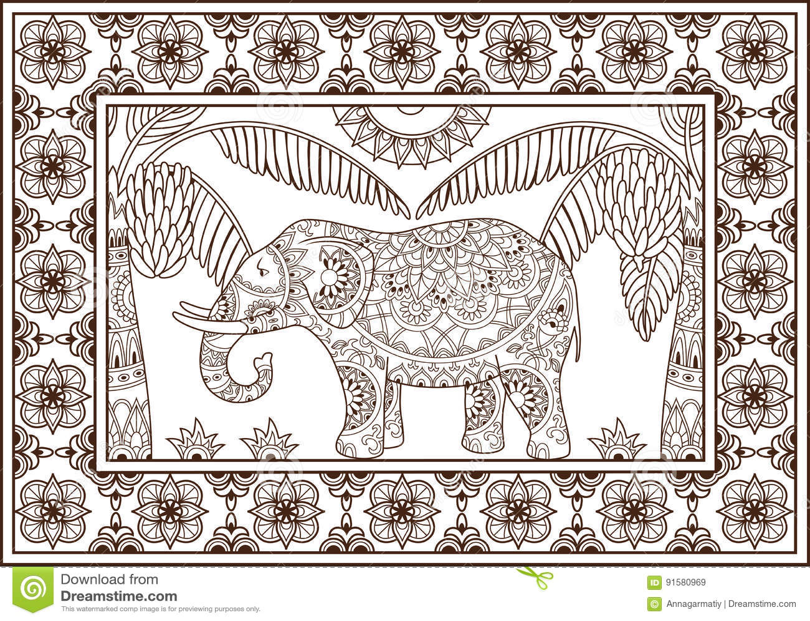 Elephant And Palm Tree Pattern