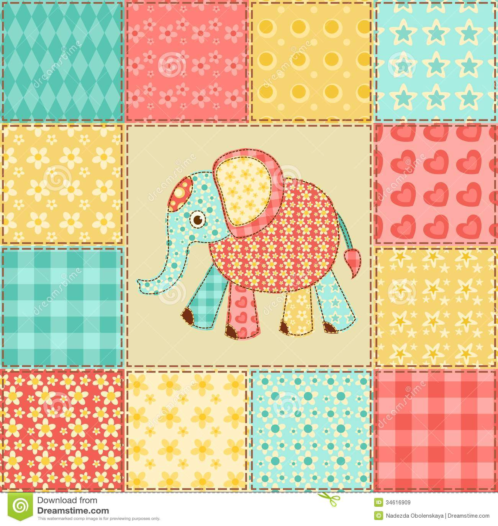 Elephant Patchwork Pattern Royalty Free Stock Images - Image: 34616909