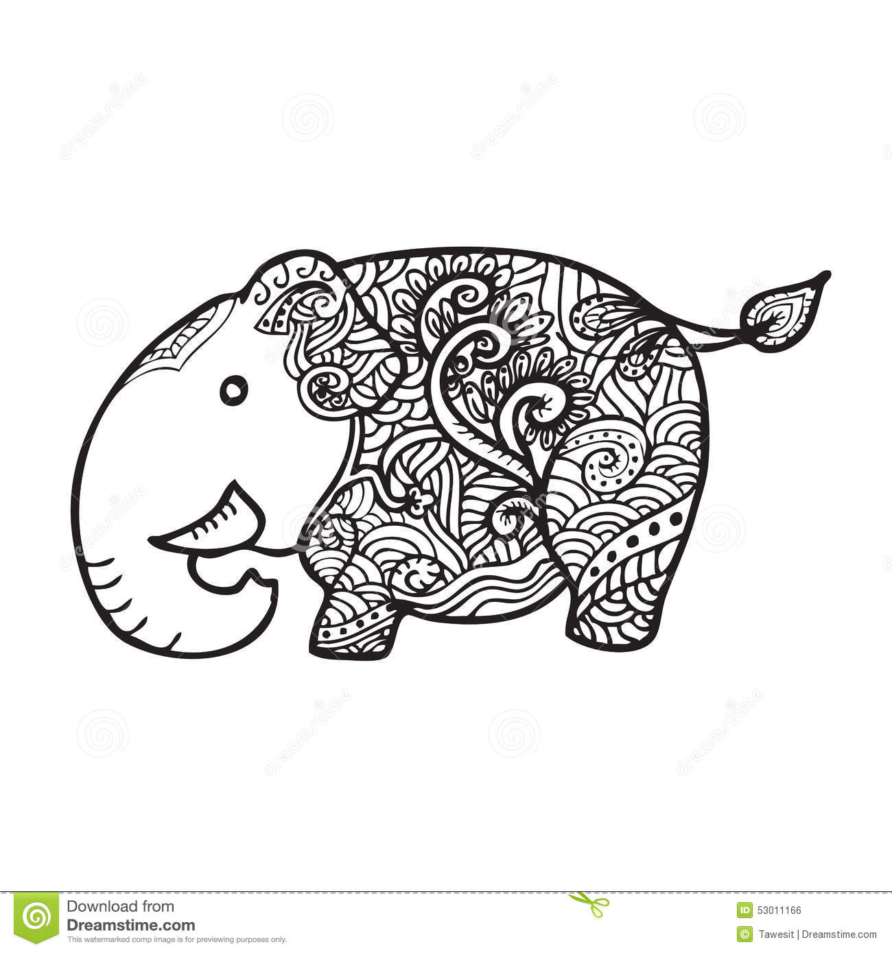 Elephant pattern doodle stock vector. Illustration of india - 53011166