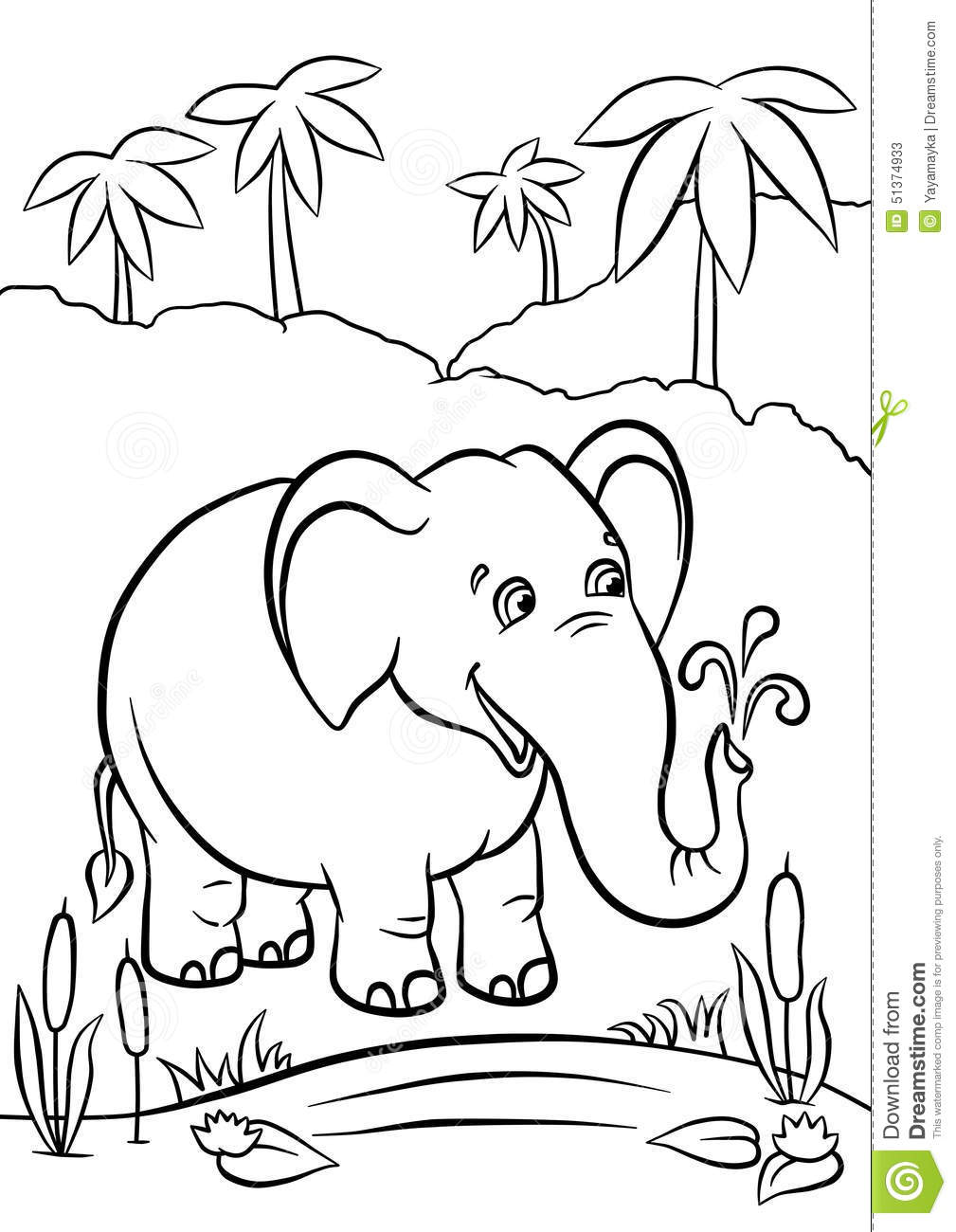 Elephant Playing With Water Stock Illustration Image