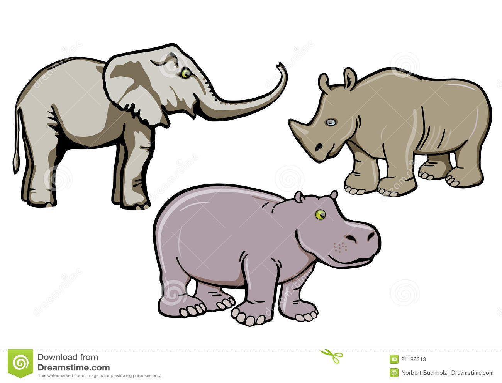 Elephant, rhino and hippo