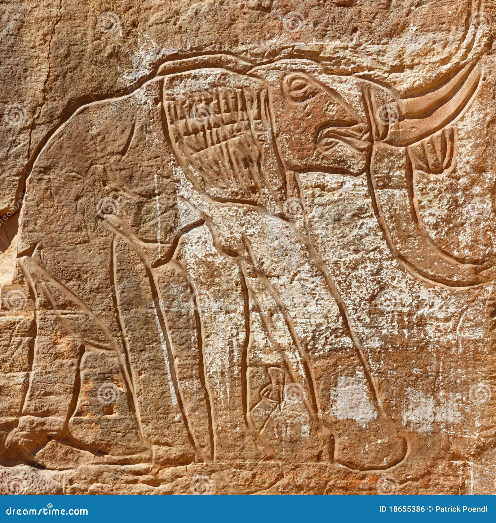 Elephant Rock Engraving - Wadi Mathendous, Libya
