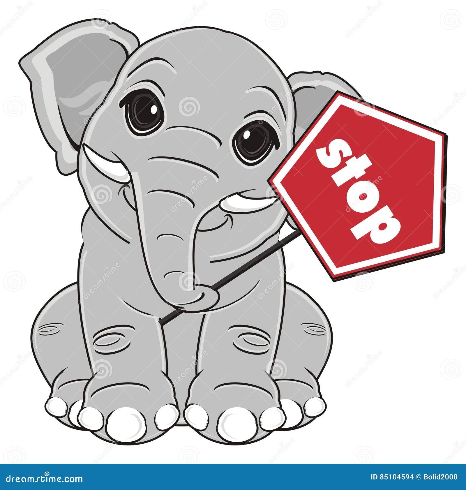 Elephant say stop stock illustration. Illustration of ...