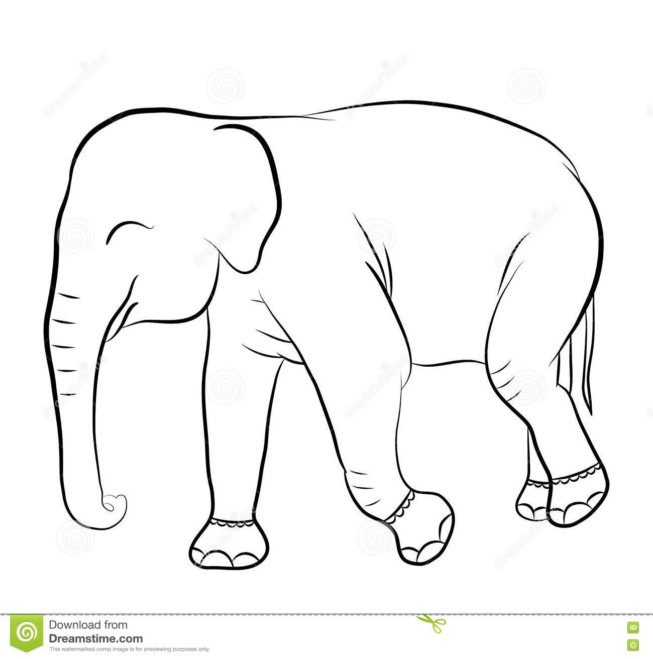Elephant Silhouette For Coloring Book Stock Vector - Illustration of ...