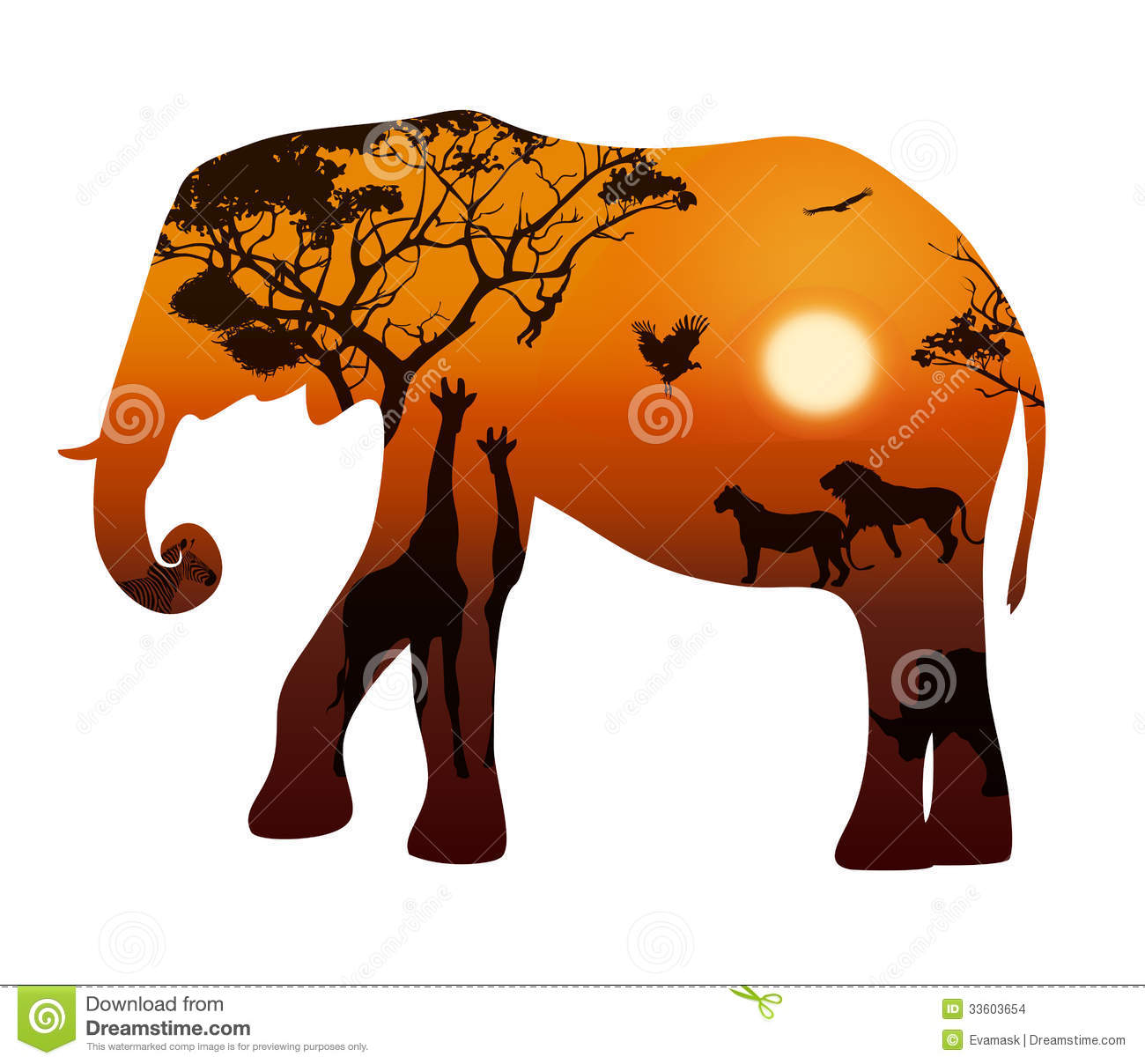 elephant with silhouettes of animals savanna stock images white elephant clip art free white elephant clip art free