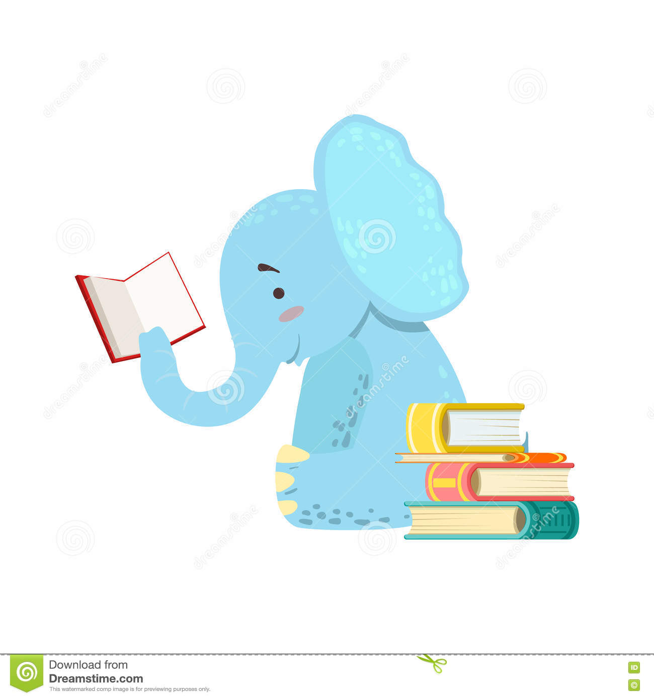 Worksheet Elephant Reading elephant smiling bookworm zoo character reading a book cartoon royalty free vector download reading