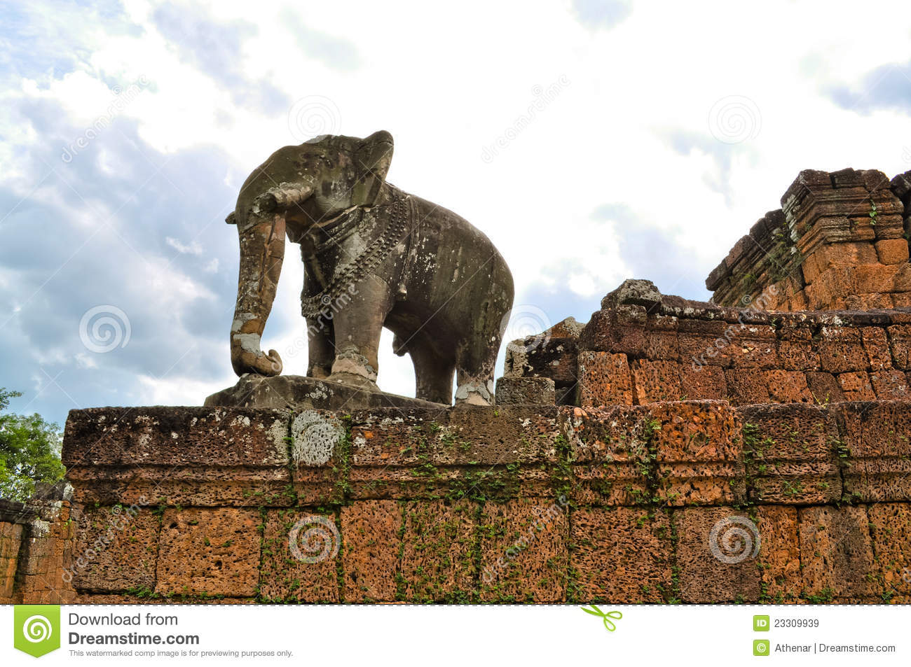 Elephant statue of banteay srei temple stock image