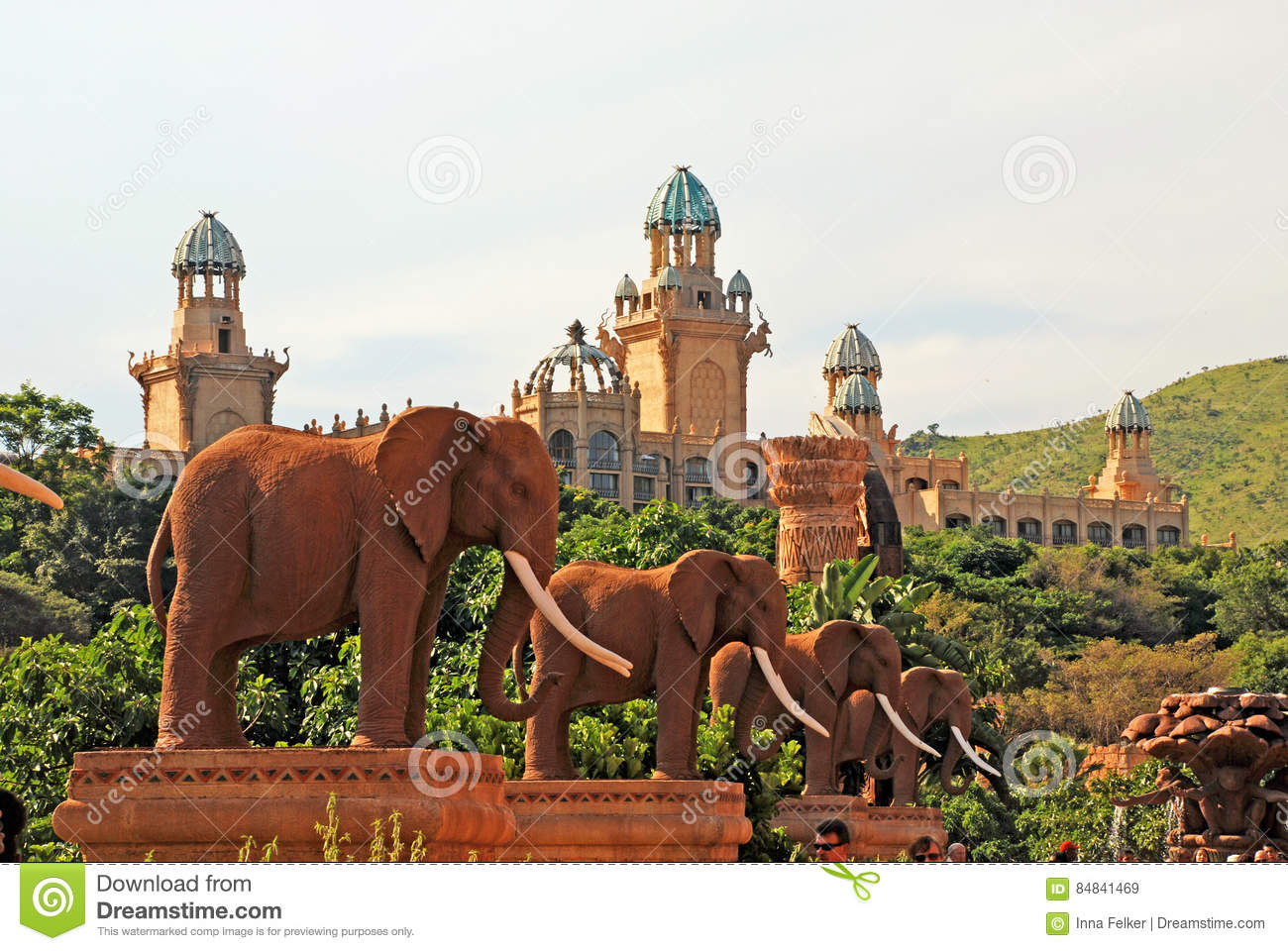 Elephant statues on Bridge of Time in Sun City, South Africa.