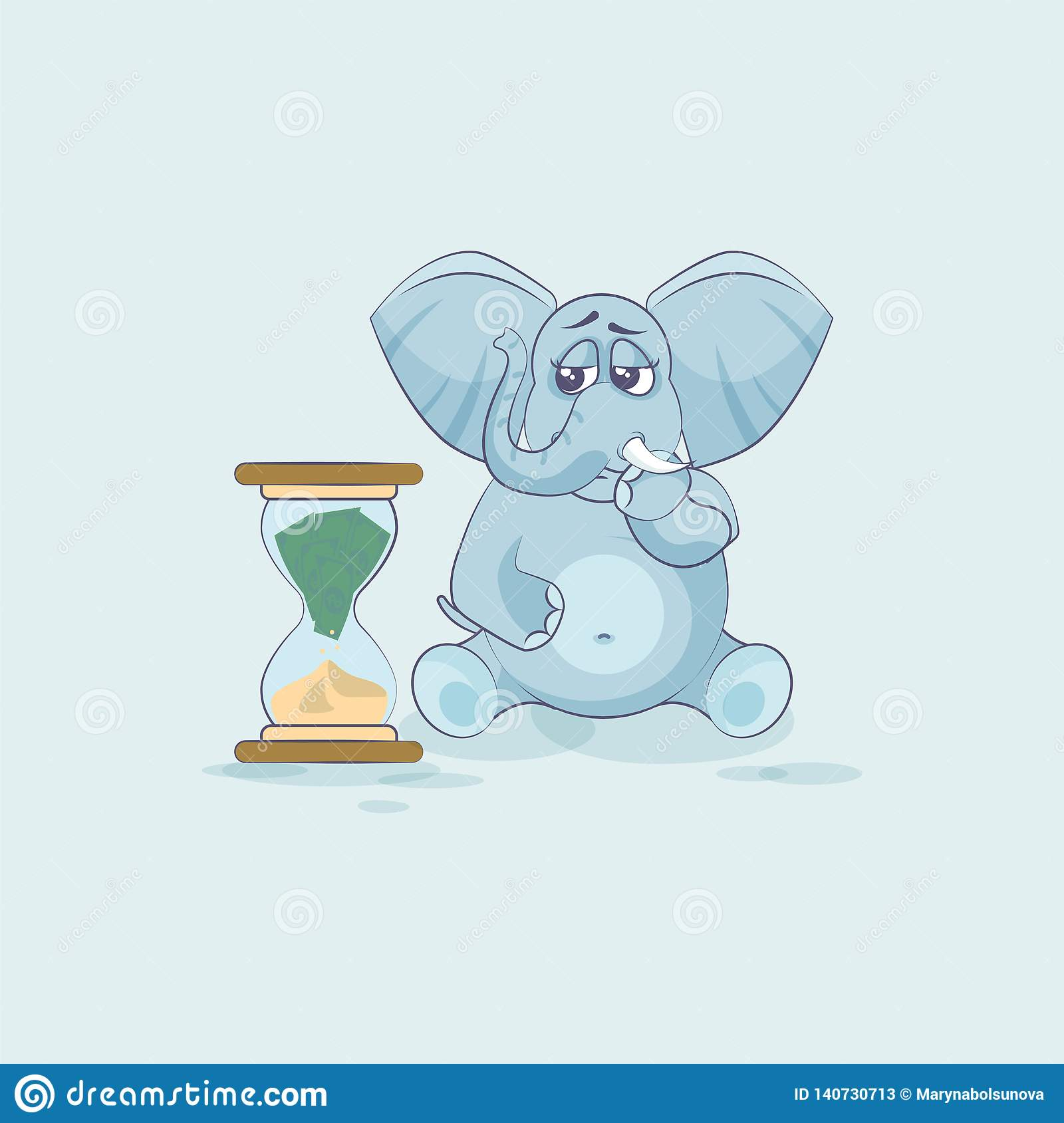 Elephant Sticker Emoticon Sits At Hourglass Stock Vector