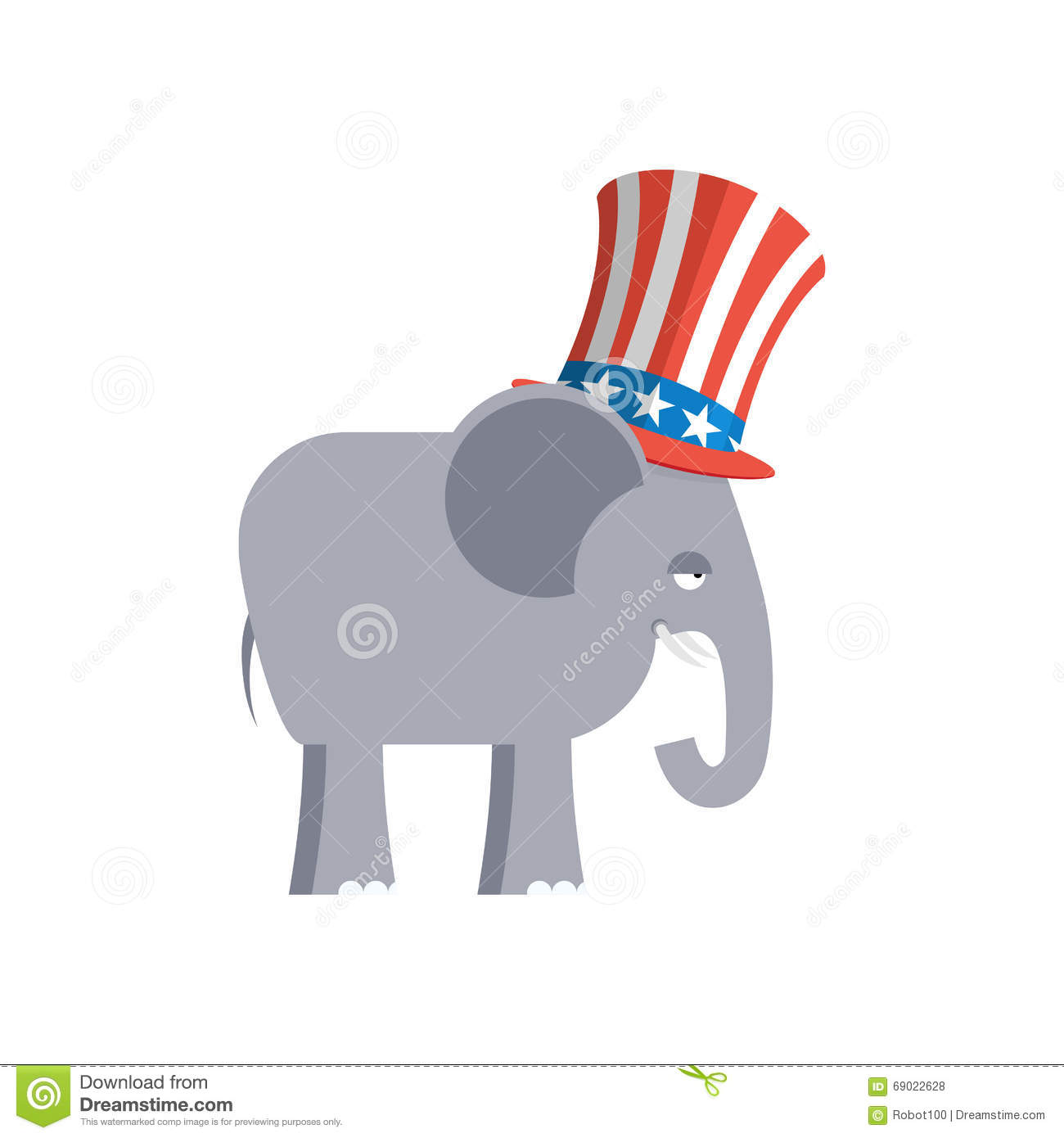 Elephant In Uncle Sam Hat Republican Elephant Symbol Of Politi
