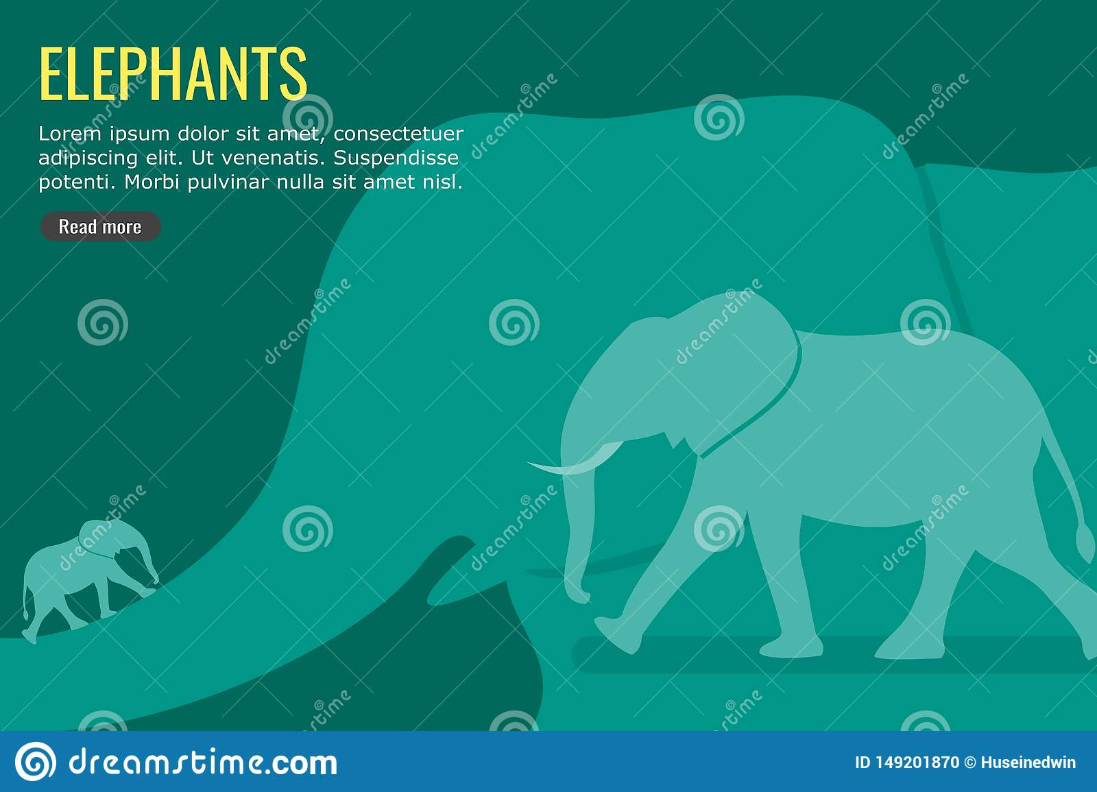 Elephant Vector and Background Info-graphic Design