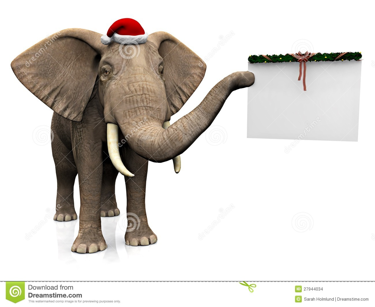 Elephant Wearing Santa Hat. Stock Images - Image: 27944034