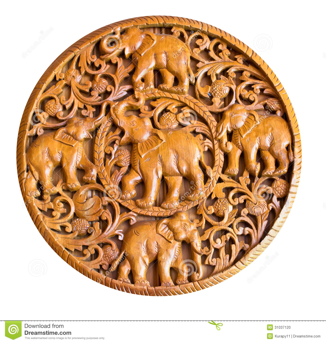 Elephant In Wood Carving Thai Style Stock Photo Image