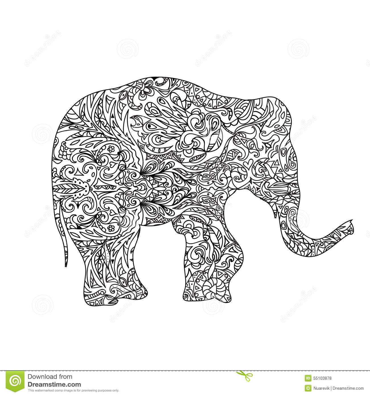 Elephant Zentangle Stock Illustration Illustration Of