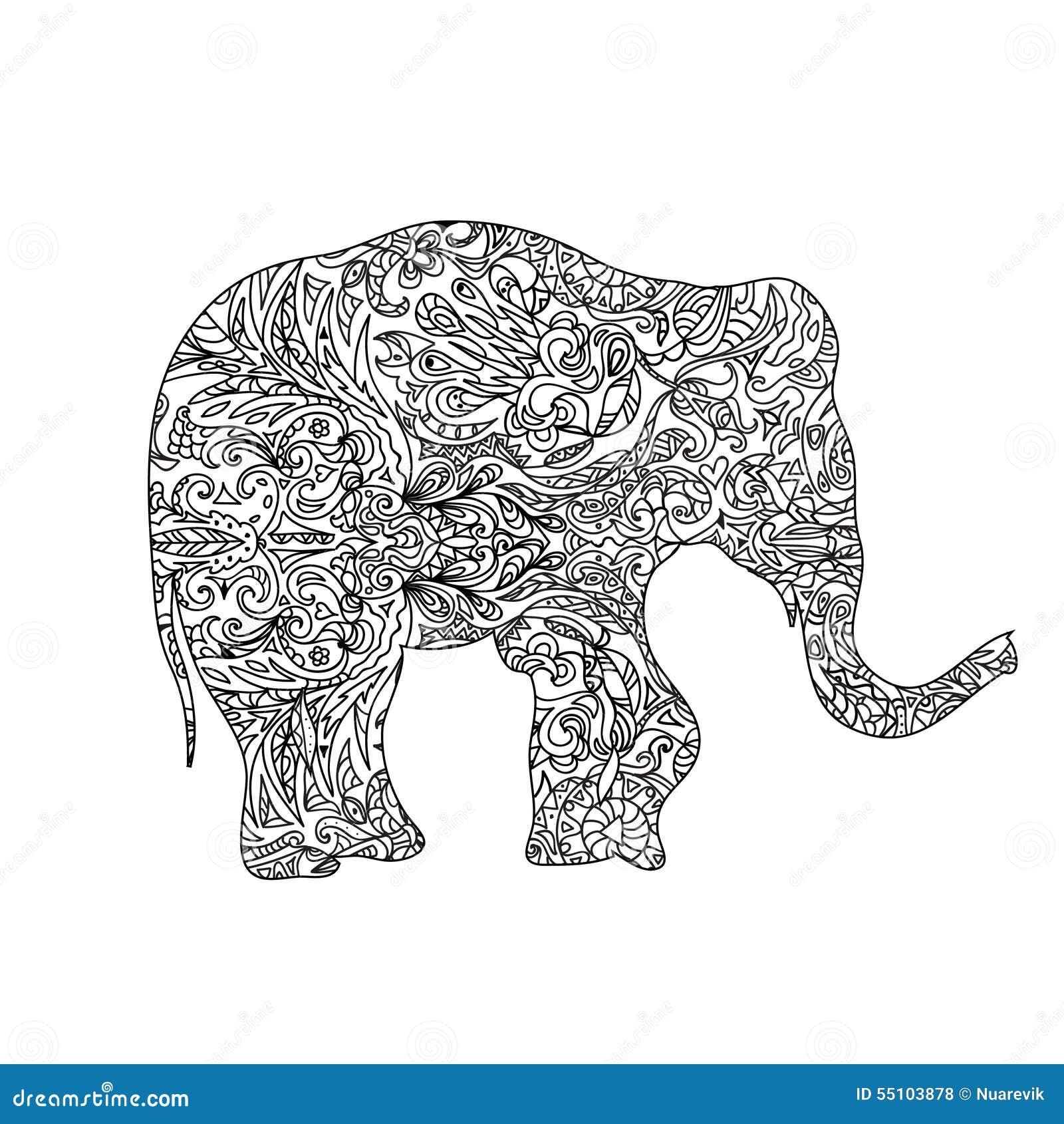 Elephant zentangle stock illustration. Illustration of wild - 55103878