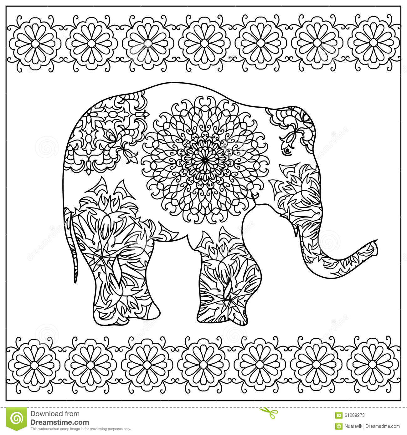 elephant zentangle coloring page - Coloring Pages Indian Elephants