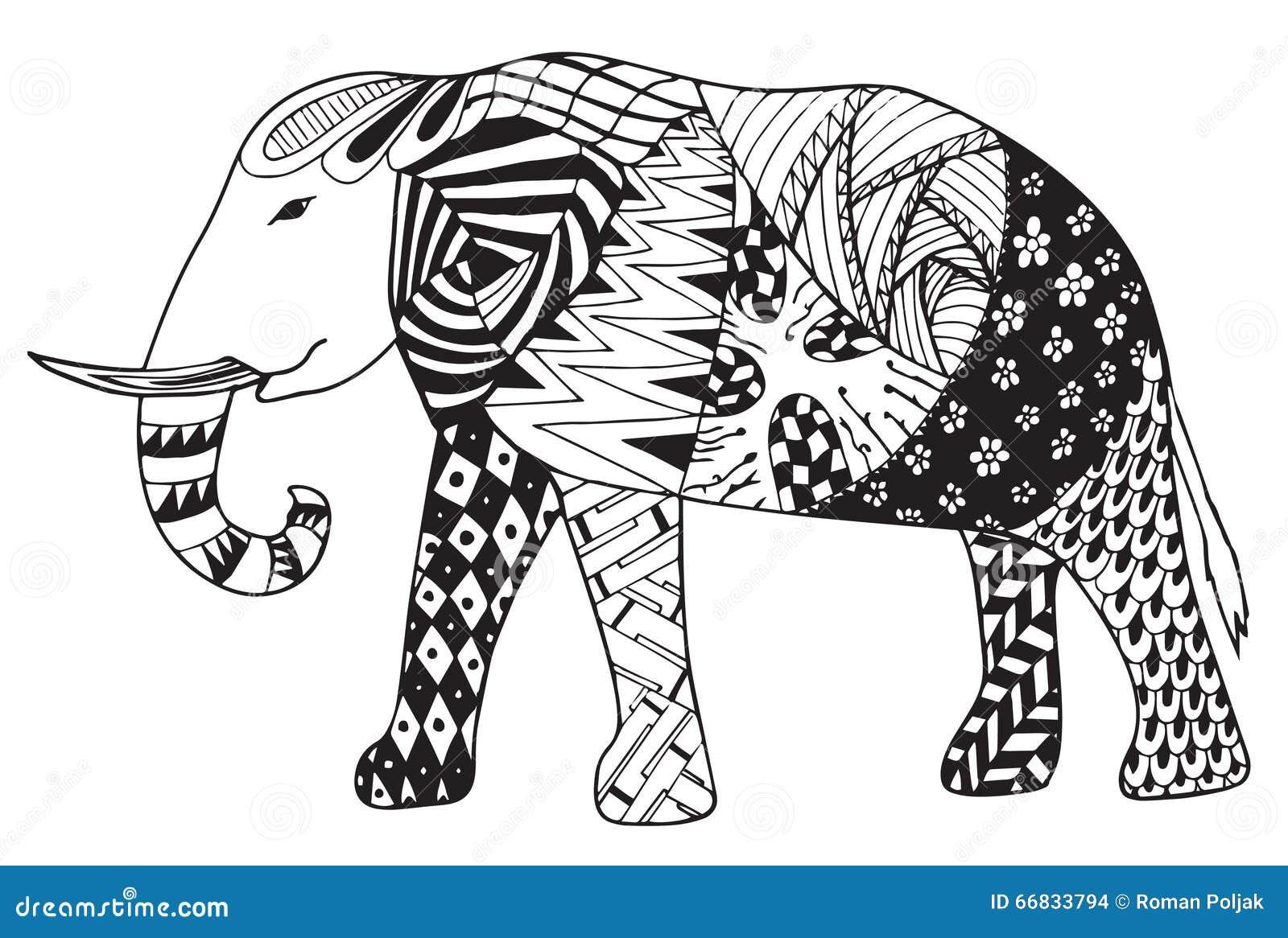Elephant Zentangle Stylized Vector Illustration Freehand