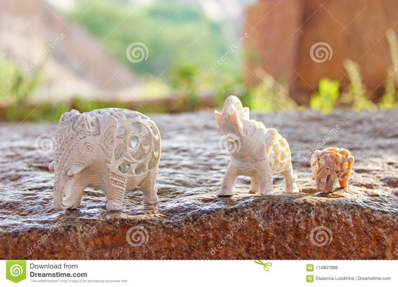 Elephants Of Carved Bone Souvenir Stock Image Image Of Carved Isolated 114801899