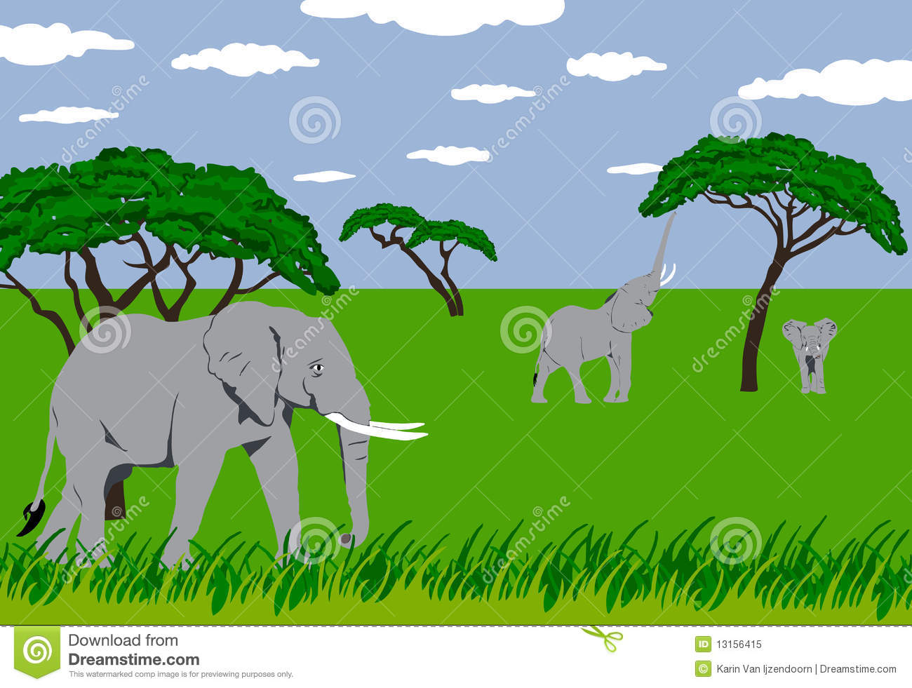 Elephants In Grassland Royalty Free Stock Photo Image