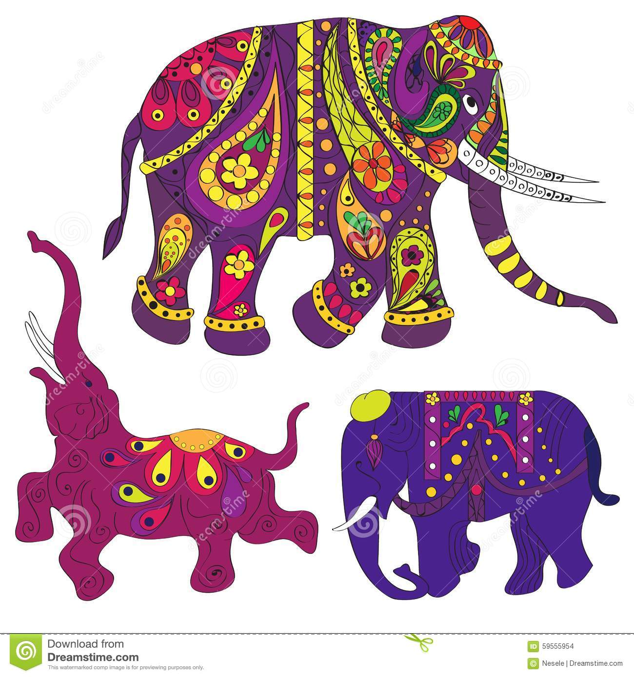 Elephants Stock Vector - Image: 59555954
