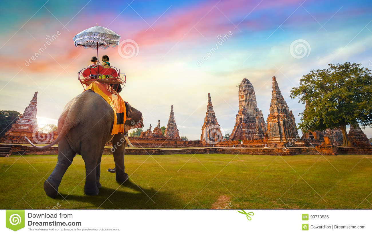 Elephants at Wat Chaiwatthanaram temple in Ayuthaya Historical Park, a UNESCO world heritage site, Thailand