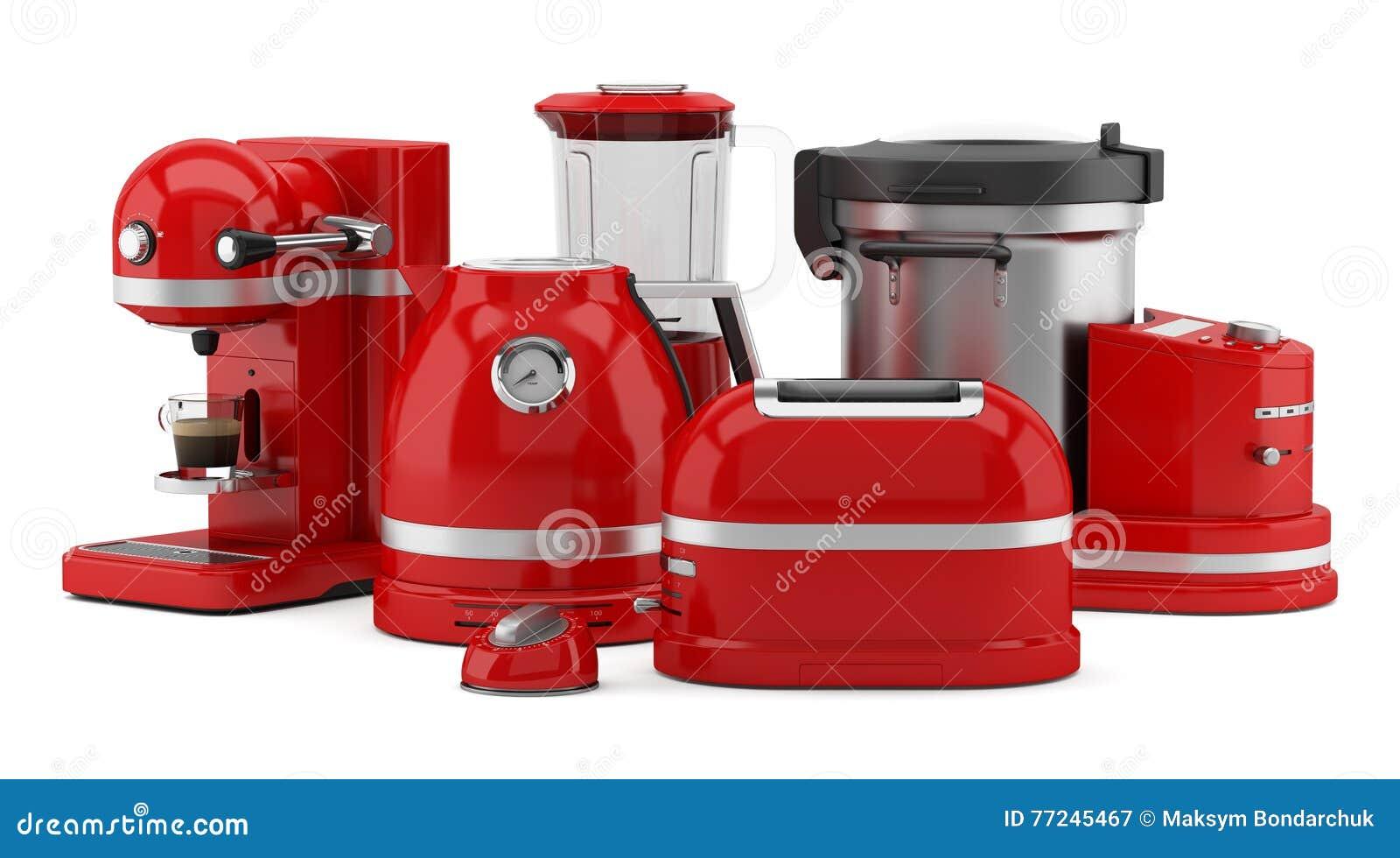 Elettrodomestici da cucina rossi isolati su bianco illustrazione di stock illustrazione di - Elettrodomestici da cucina ...